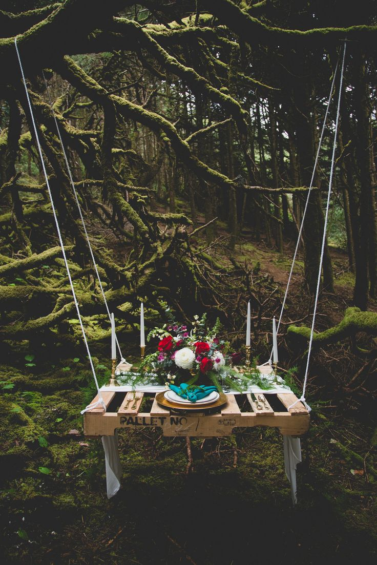 Fairytale Hanging Sweetheart Picnic Table- 5 Things You Need For A Perfect Picnic Wedding on earlyivy.com