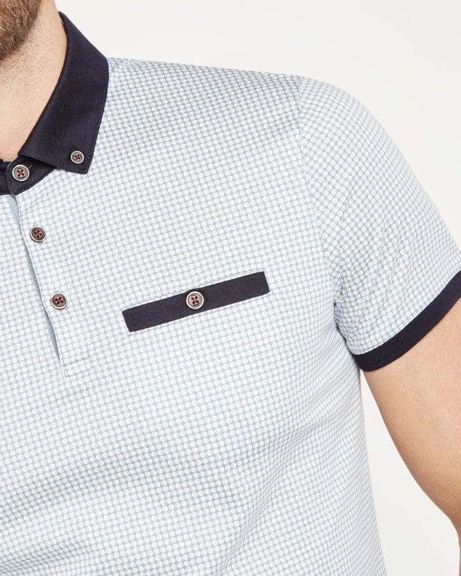 Geo spotted cotton polo shirt - Charcoal | Tops & T-shirts | Ted Baker