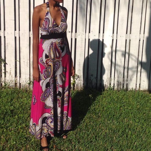HOST'S PICK 8/24/15Flirty Halter dress lg Paisley fuchsia halter dress.  Day to evening Dresses
