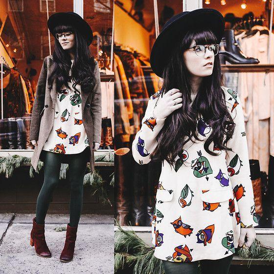 Rachel-Marie Iwanyszyn - Asos Jacket, Tights, Seychelles Boots, Owl Dress, Warby Parker Glasses - STREET LIGHT EYES.