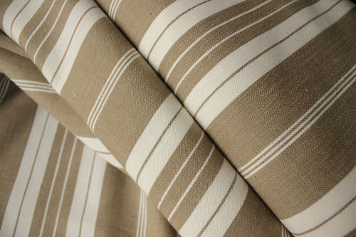 Vintage French Ticking fabric ~ lovely classic khaki ground with white stripes ~ for upholstery , pillows, curtains etc ~