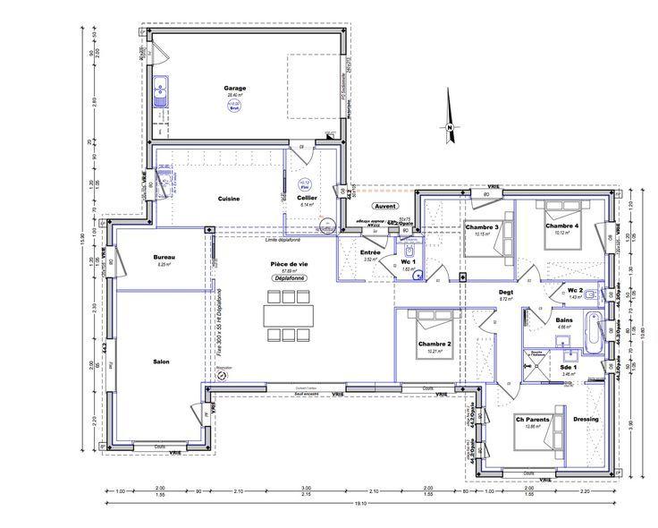plan maison plain pied 4 chambres 150m2 - #150m2 #chambres #maison #pied #Plain #plan