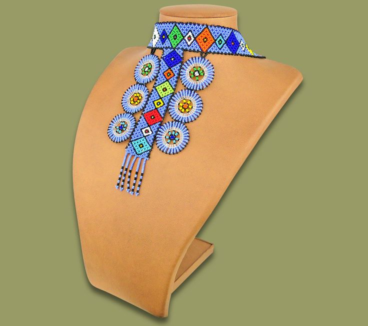African Beaded Necklace Zulu Circle Style 1 Blue