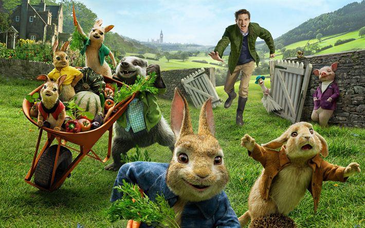 Herunterladen hintergrundbild peter rabbit, 4k, poster, 2018-film, 3d-animation