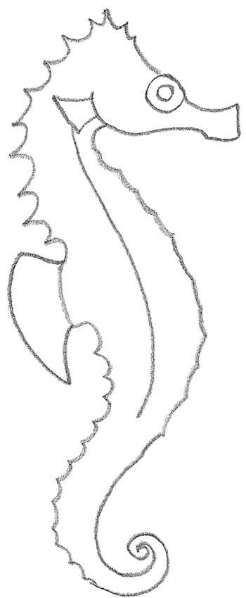 easy to draw seahorse - photo #13