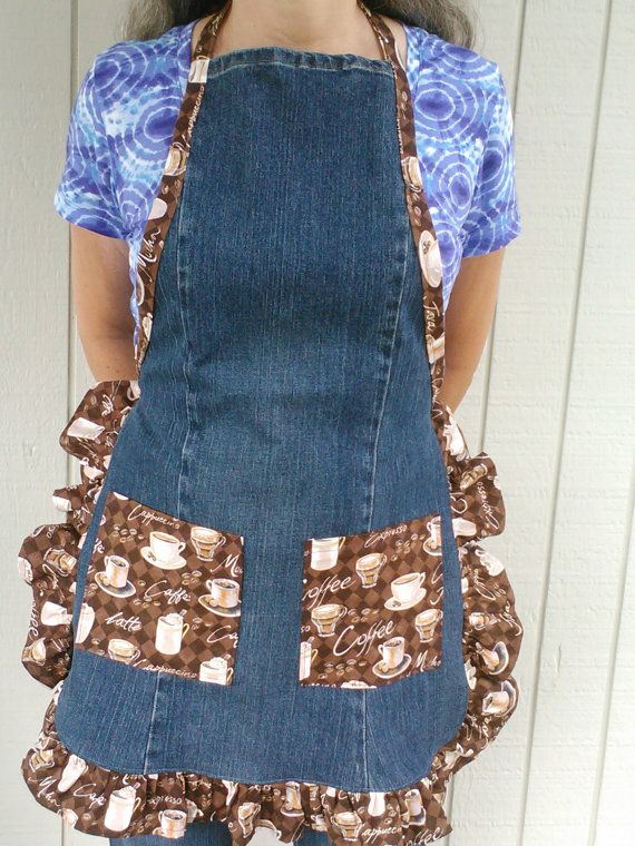 I made this cute apron using an old pair of my blue jeans. The pockets, ruffle and ties are made from 100% cotton fabric in a coffee print. Perfect