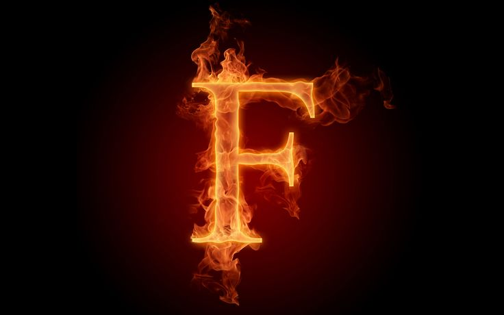 The fiery English alphabet picture F