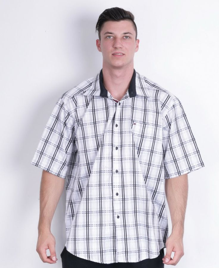 Tommy Hilfiger Mens 4XL Casual Shirt Check White Cotton