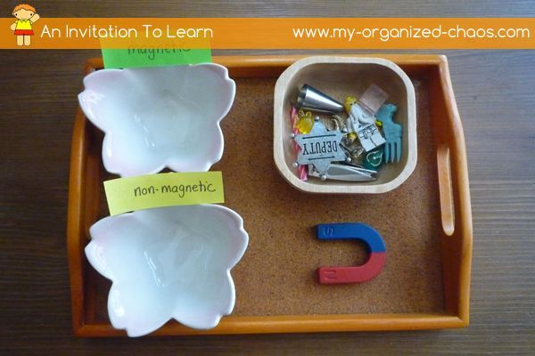 Magnetic or Non Magnetic Experiment  Set up activities in a way to create curiosity in your child so that they can't help themselves and just have to figure out what is going on. Montessori trays.