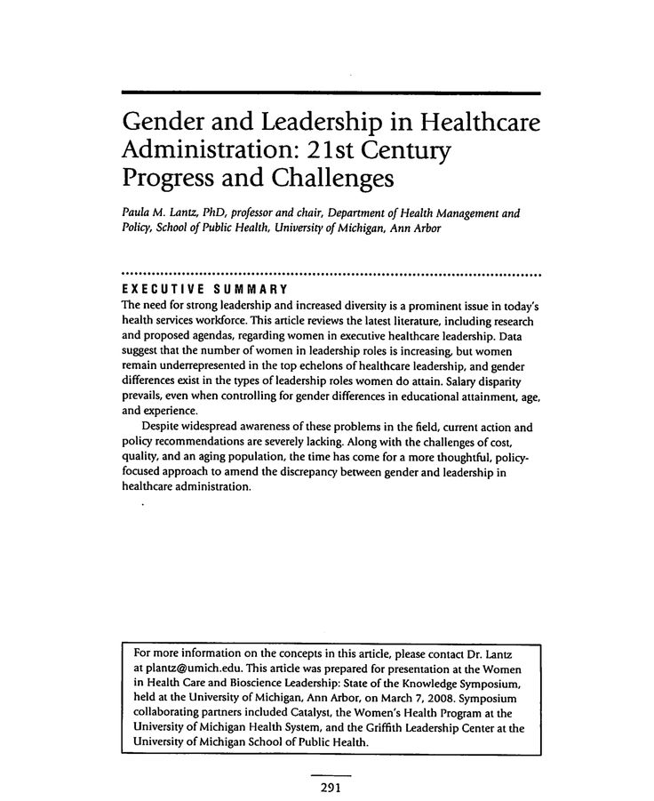 Gender and Leadership in Healthcare Administration 21st