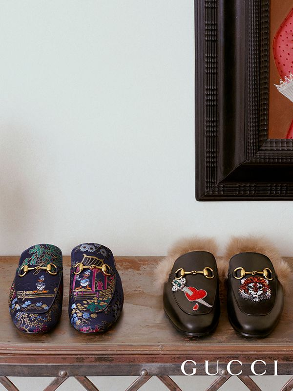 The Gucci's Princetown slipper is revamped for Spring Summer 2017 with new materials, motifs and embellishments.