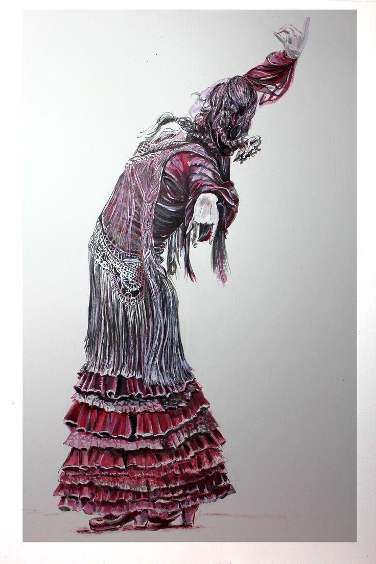 Pen and ink drawing flamenco ballerina.
