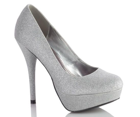 "Glitter platform pumps. A round toe and slightly cushioned insole. 5"" heel with 1 1/2"" platform"
