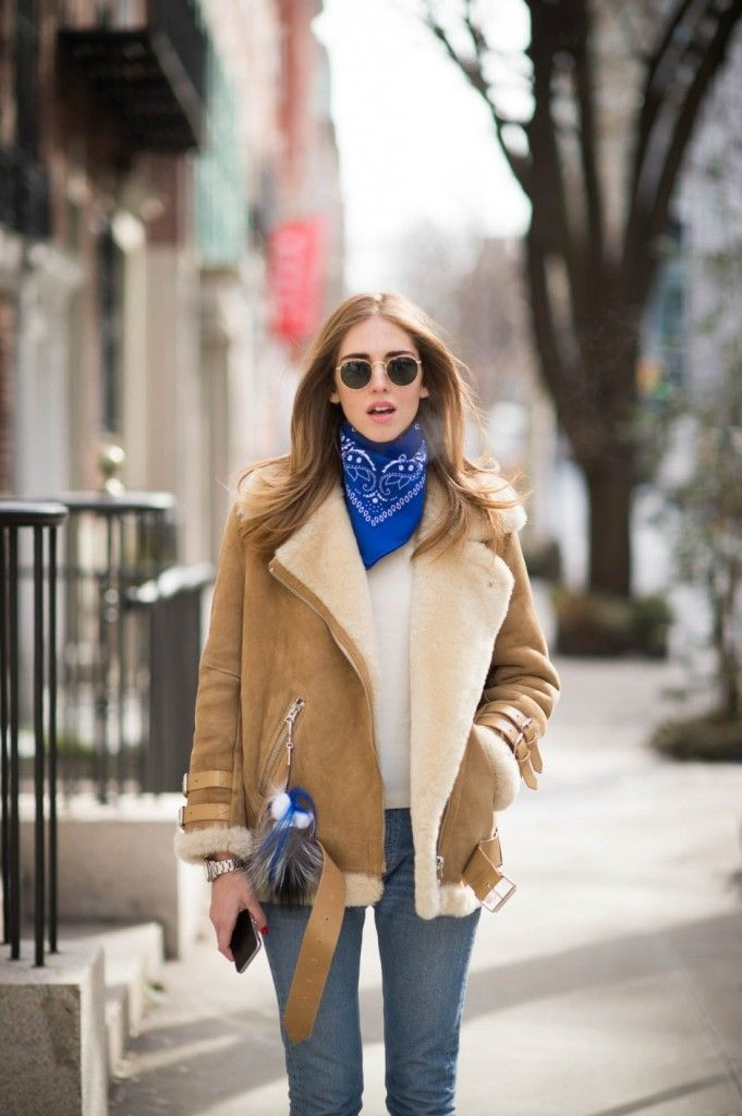 Chiara Ferragni wearing #AcneStudios Velocite oversized shearling jacket (http://www.acnestudios.com/velocite-black.html) at New York Fashion Week #NYFW