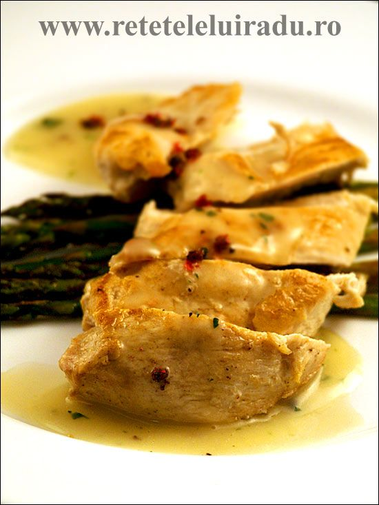 Asparagus chicken breast with classic french veloute sauce