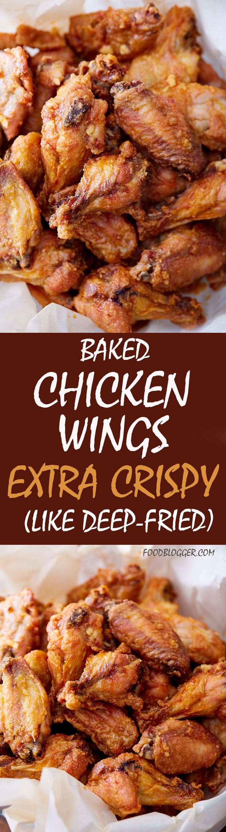 These baked #chicken wings are extra crispy on the outside and very juicy inside. They are like deep-fried wings, only without a mess and added calories. Oh, and they only take 30 minutes to bake.