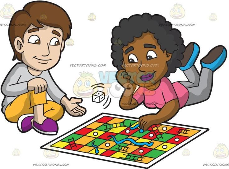 Two Friends Playing Snakes And Ladders :  A man with blonde hair wearing casual clothes sits on the floor beside a black woman with curly hair wearing a pink shirt gray pants and blue shoes who is chilling with her stomach down as they play snakes and ladders