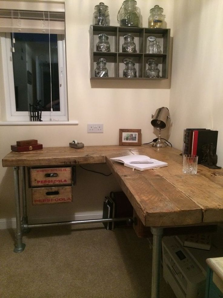 Industrial Salvage Computer Desk With Reclaimed Pepsi Crate Drawers