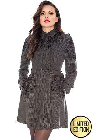 Goddiva Limited Edition Crochet Detail Belted Coat £54 #goddivafashion #limitededition