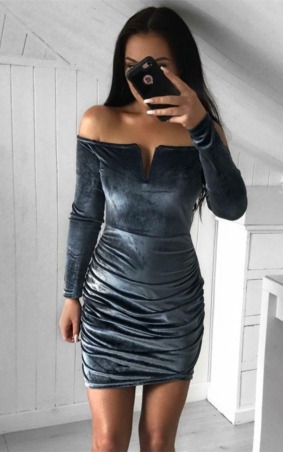 336a9ce4879 Navy Blue Velvet Cutout Long Sleeve Tight Sheath Cocktail Dress ...