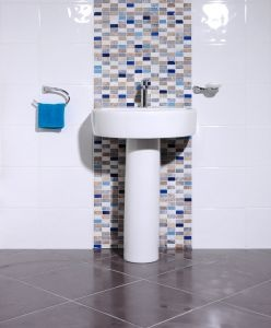 Bumpy Gloss White/Blue Oblong · Stone MosaicTile BathroomsWhite ... Part 40
