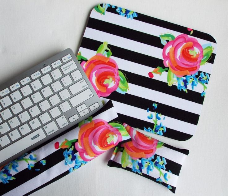 Mouse pad, keyboard rest, and mouse wrist rest set - black white stripe roses floral - coworker desk cubical office accessories  chic / cute / preppy / computer, desk accessories / cubical, office, home decor / co-worker, student gift / patterned design / match with coasters, wrist rests / computers and peripherals / feminine touches for the office / desk decor