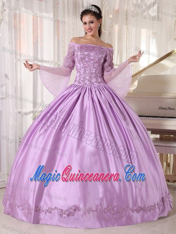 Pretty Lavender Taffeta Quinceanera Gown Long Sleeves with Appliques