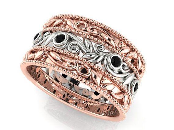 diamond paisley band wedding ring romantic wedding rings two tone wedding band bohemian wedding band eternity band - Bohemian Wedding Rings