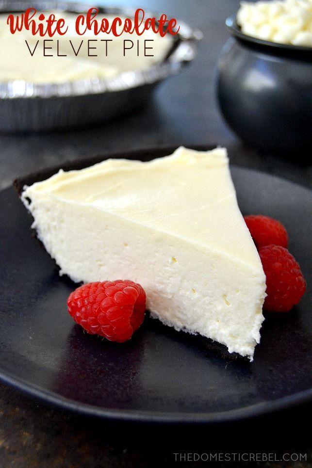 No Bake White Chocolate Velvet Pie: a creamy, silky-smooth no-bake pie that's…