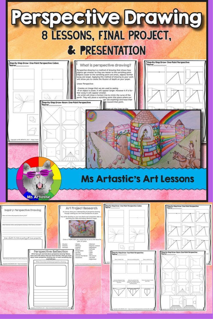 Teach a variety of techniques to create perspective drawing to your students! Teach about perspective, the history of perspective drawing, one-point cube perspective, one-point perspective, two-point perspective, and one-point room perspective drawing. Th