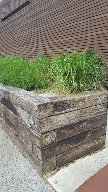 Raised Bed From Railroad Ties Pinteres