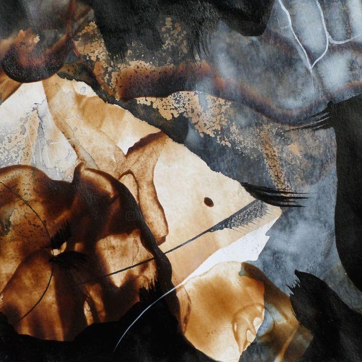Un mot sur le vent 9 - Malarstwo,  13x13 cm ©2017 przez Isabelle Mignot -                                                          Sztuka abstrakcyjna, Papier, Sztuka abstrakcyjna