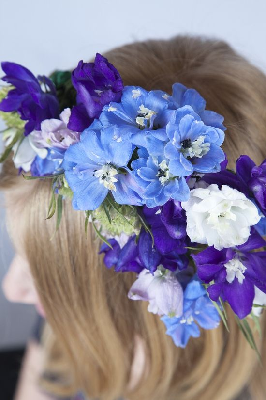 Floral headdress with stunning delphiniums #britishflowers. Floral accessories are beautifully on trend for a #summer #wedding