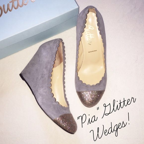 Butter✨ Suede and Glitter Wedges Made in Italy, worn once for a few hours indoors. Very little scuffing to soles. Color is a gray/blue gray suede and multicolor glitter toe. Scalloped edges. Beautiful shoe in excellent condition, runs a bit small. ✨Smoke-free home Butter Shoes Wedges