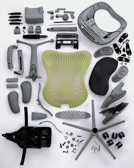 thekhooll:  Disassembled A disassembledHerman Miller Mirra chair.