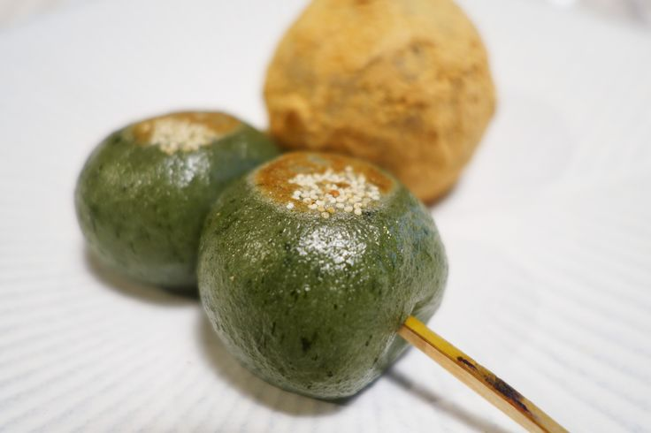 YOMOGI DANGO which is made from mochi mixed with ground mugwart.