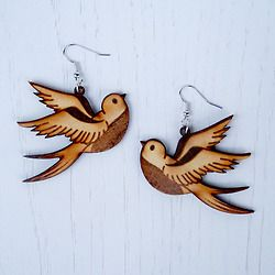 SwallowsSwallow illustrations are rich with history and symbolism all over the world. Over the centuries, the bird has been linked to health, wealth, loyalty, and the rigors of long-distance travel. Our professionally laser cut earrings are secured to hypoallergenic surgical steel Gold/Silver (what ever you decide to choose) Plated Surgical earring hooks. They are safe for sensitive ears and do not tarnish. They are laser cut using original artwork, these beautiful and light-weight ...