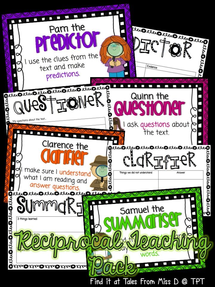This pack has everything you need to start Reciprocal Teaching in your classroom. Includes British and American spellings.  Included in this pack;  * 4 Character Posters - Pam the Predictor, Quinn the Questioner, Clarence the Clarifier and Samuel the Summariser.   * Talking prompts for each role.  * Graphic Organisers for each role.