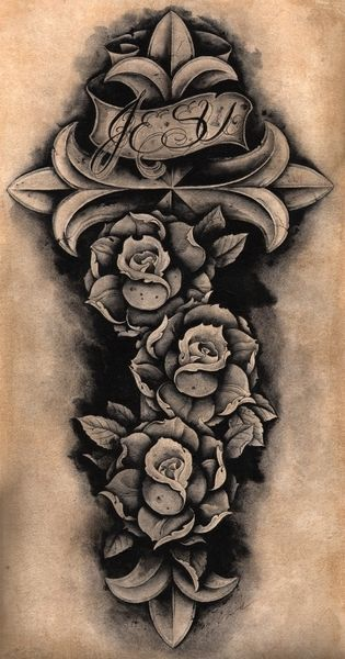Jesu Cross Clark North Roses Latin Mexican Catholic Tattoo Giclee Art Print