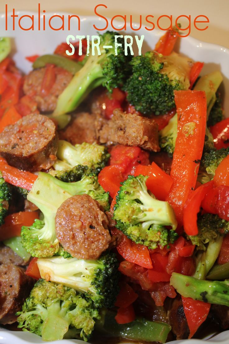 Italian sausage stir fry! One of my family's favorites, full of flavor and color.