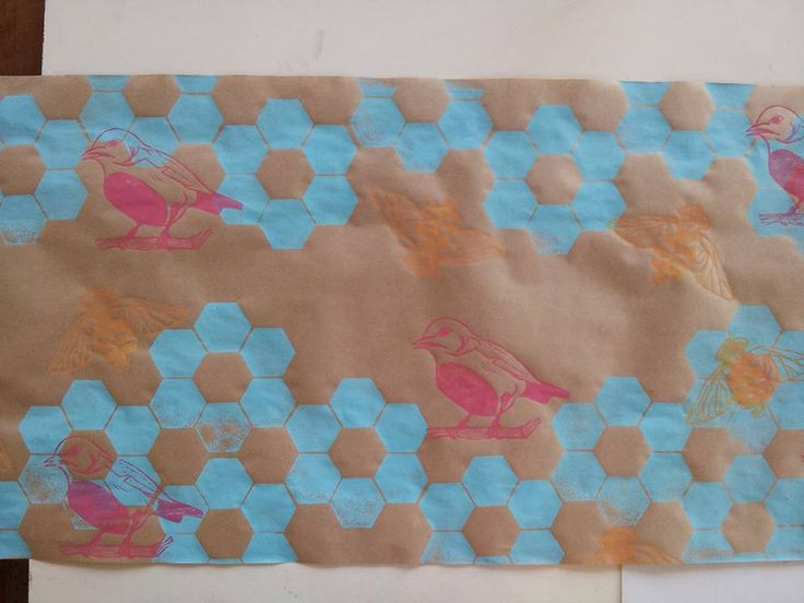 By using brown paper rolls, I can practice pattern creation and colour combining.