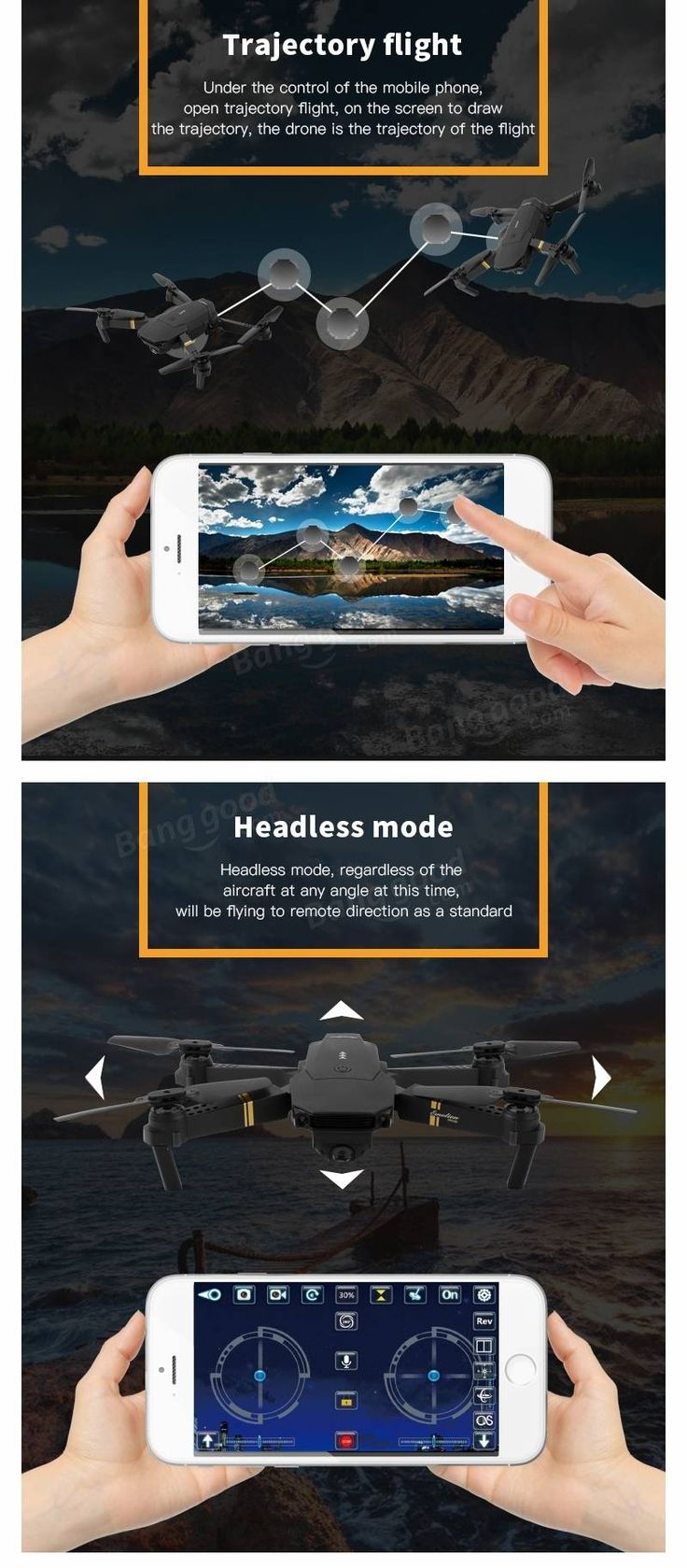 Eachine E58 WIFI FPV With 2MP Wide Angle Camera High Hold Mode Foldable RC Drone Quadcopter RTF Sale - Banggood.com  #toys #aiplanes #quadcopters #drones