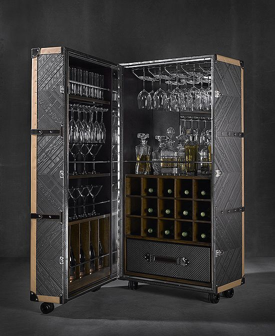 LEATHER COCKTAIL BAR CABINET | Taylor Llorente Furniture I like the etched patterns into the sides of the cabinet