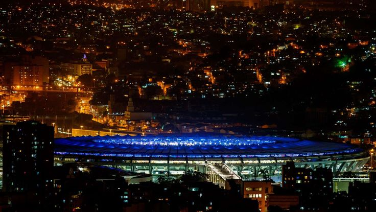 Rio de Janeiro, Brazil; General view of the stadium exterior prior to the opening ceremonies for the Rio 2016 Summer Olympic Games at Maracana.     -  Olympics: Opening Ceremonies