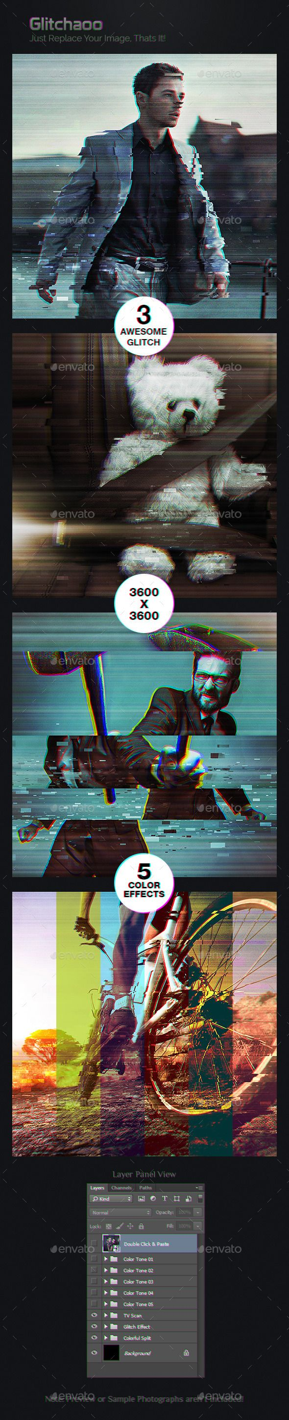 Glitchaoo ¨C Extreme Glitch Photoshop Photo Effect Template! Specification:3 PSD Files! 5 Color Effects! 3000¡Á3000 Pixel Resolution