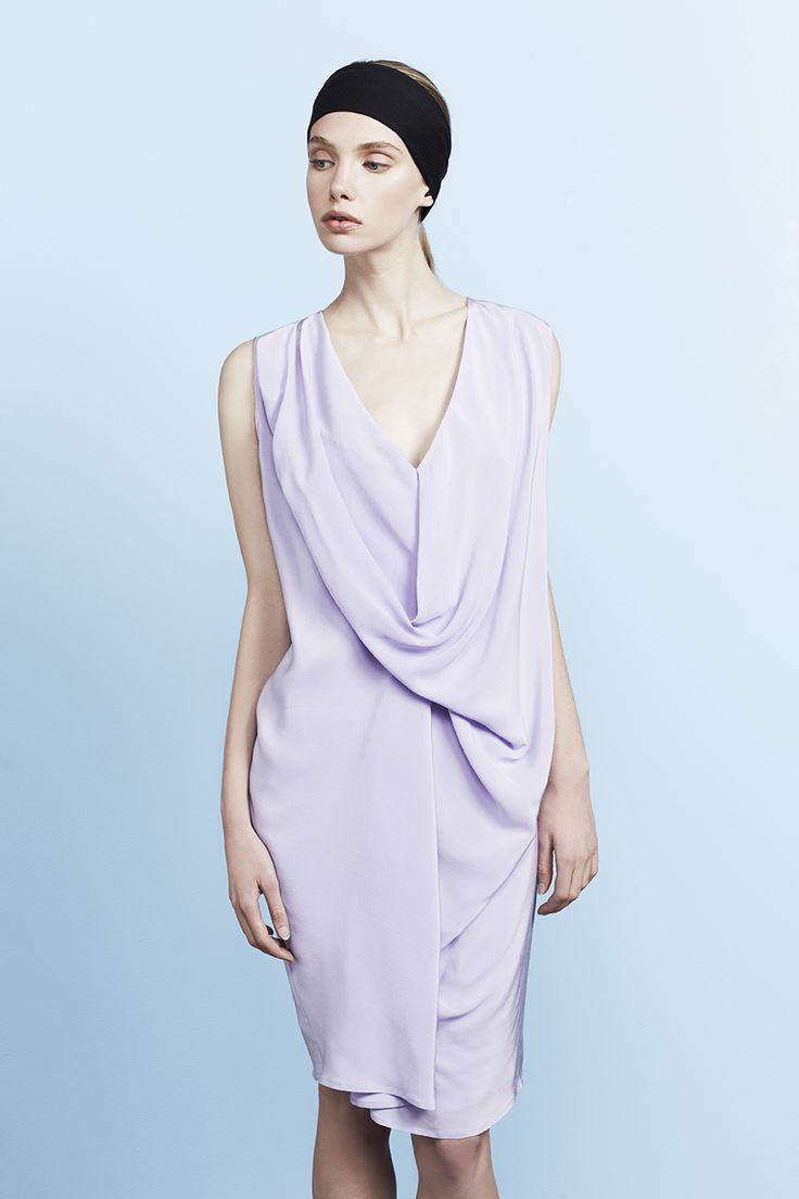 Swann all in one drape dress with v-neck