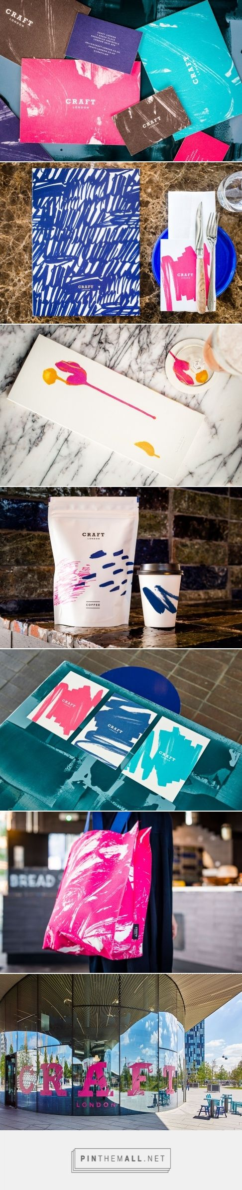 Identity, packaging and branding by Here Design for Craft London curated by Packaging Diva PD. Using a mixture of pink, turquoise, navy and black, the mark-making reflects the authenticity of each unique CRAFT London experience.