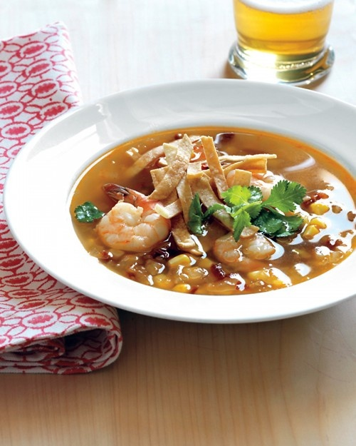 10-Minute Shrimp and Tortilla Soup: Food Recipes, 10 Minute Shrimp, Corn Soup, Tortillas Soups, Soups Recipes, Stripes Bass, Martha Stewart, Corn Tortillas, Chicken Breast