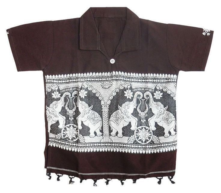 Dark Brown Half Sleeve Short Kurta with Baluchari Weaved Design (Cotton)