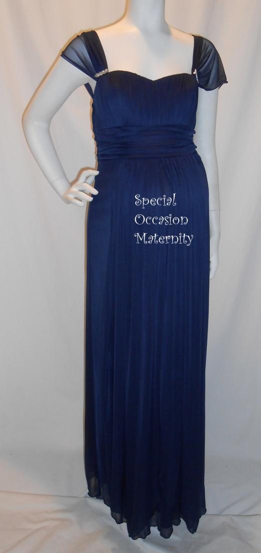 7021l long navy blue chiffon cap sleeves maternity dress for Navy blue maternity dress for wedding